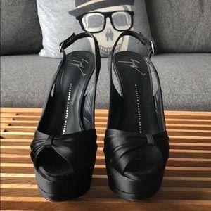 Giuseppe Zanotti black satin heels.